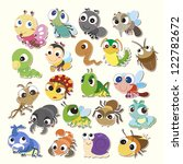 Set Of Cute Cartoon Insects