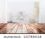 closeup top wood table with...   Shutterstock . vector #1227834118