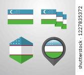 uzbekistan flag design set...   Shutterstock .eps vector #1227835372