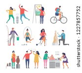 male and female hobbies. people ... | Shutterstock .eps vector #1227857752