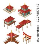 asian architecture isometric.... | Shutterstock .eps vector #1227857842