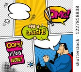 comic book page divided by... | Shutterstock .eps vector #1227858838
