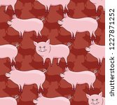 pattern with cute pigs on a red ... | Shutterstock .eps vector #1227871252