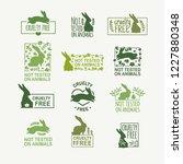 set animal logo cruelty free.... | Shutterstock .eps vector #1227880348