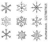 vector set of black doodle... | Shutterstock .eps vector #1227887815