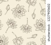 seamless pattern with lotus ... | Shutterstock .eps vector #1227905602