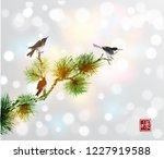 birds and green pine tree... | Shutterstock .eps vector #1227919588