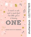 girl's first birthday one year... | Shutterstock .eps vector #1227927835