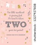 girl's second birthday two... | Shutterstock .eps vector #1227927838