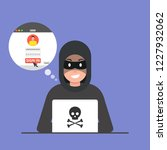 hacker sitting at the desktop... | Shutterstock .eps vector #1227932062