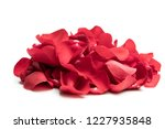 Stock photo heap of red rose petals isolated on white 1227935848