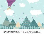 kids room wallpaper with... | Shutterstock .eps vector #1227938368