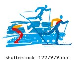 cross country skiers grunge... | Shutterstock .eps vector #1227979555