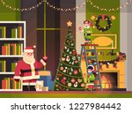 santa claus with elves on... | Shutterstock .eps vector #1227984442