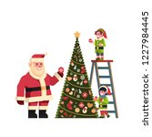 santa claus with elves on... | Shutterstock .eps vector #1227984445