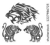 set of lion tattoos   Shutterstock .eps vector #1227986725