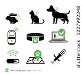 Stock vector microship your pet icons set 1227992248