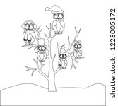 owls family on the tree on the... | Shutterstock .eps vector #1228005172