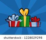 pop art gift box for birthday... | Shutterstock .eps vector #1228029298