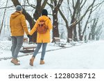 couple walking by snowed city... | Shutterstock . vector #1228038712