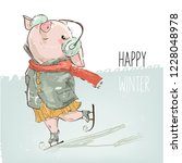 cute lovely cartoon pig skating | Shutterstock .eps vector #1228048978