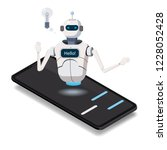 isometric science chat bot ... | Shutterstock .eps vector #1228052428