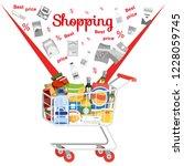 shopping in supermarket flat... | Shutterstock .eps vector #1228059745