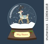 christmas snow globe with deer... | Shutterstock . vector #1228061818