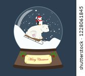 christmas snow globe with bear... | Shutterstock . vector #1228061845