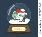 christmas snow globe with bear... | Shutterstock . vector #1228061848