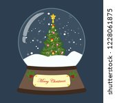 christmas snow globe on the... | Shutterstock . vector #1228061875