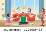 father in a state of stress... | Shutterstock .eps vector #1228069495