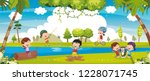 vector illustration of kids... | Shutterstock .eps vector #1228071745
