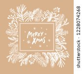merry christmas. handwriting... | Shutterstock .eps vector #1228074268