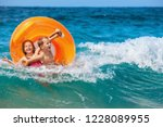 happy kids have fun in sea surf ... | Shutterstock . vector #1228089955