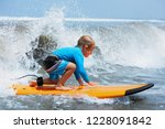 happy baby boy   young surfer... | Shutterstock . vector #1228091842