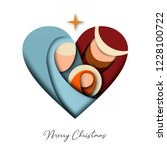 merry christmas 3d paper cut... | Shutterstock .eps vector #1228100722
