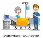 hospitalized aged woman lying... | Shutterstock .eps vector #1228101985
