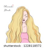 beautiful woman face with long... | Shutterstock .eps vector #1228118572