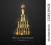 christmas poster with golden... | Shutterstock .eps vector #1228130428