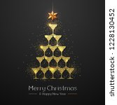 christmas poster with golden... | Shutterstock .eps vector #1228130452