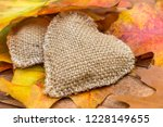 Burlap Heart With Autumn Leaves ...