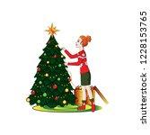 a girl  woman  decorates a... | Shutterstock .eps vector #1228153765