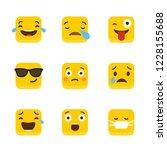 set of yellow square emojis... | Shutterstock .eps vector #1228155688