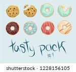 tasty pack. colorful delicious... | Shutterstock .eps vector #1228156105