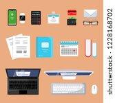business top view. finance... | Shutterstock .eps vector #1228168702
