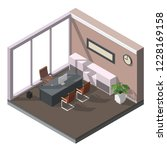 isometric low poly office... | Shutterstock .eps vector #1228169158