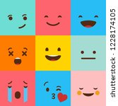 colorful square emojis set... | Shutterstock .eps vector #1228174105