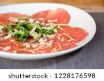 close up of carpaccio meat with ... | Shutterstock . vector #1228176598