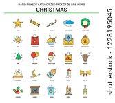 christmas flat line icon set  ... | Shutterstock .eps vector #1228195045